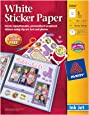 """Avery Sticker Project Paper, Matte White, Removable Adhesive, 8-1/2"""" x 11"""", Pack of 5 (53202)"""