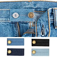 4PCS Set Denim Waistband Button Extender Metal Buttons for Jeans Pants Skirt Comfy Waist Expander
