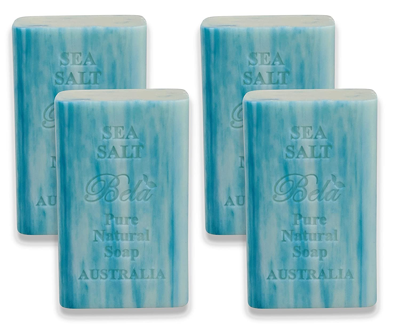 Bela Bath & Beauty, Bela Pure Embossed Soap Bars, Sea Salt, With Shea Butter and Essential Oils, 6.5 oz Each - Set of 4