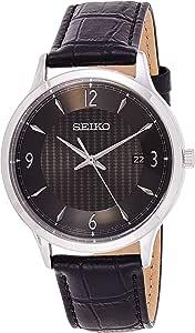 SEIKO Men's Quartz Watch, Analog Display and Leather Strap SGEH85P1