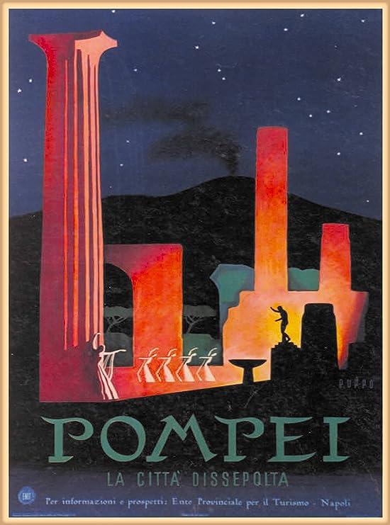 Italy Naples vesuvius Visit Travel 3x4 inch Vintage Art Pompei Sticker