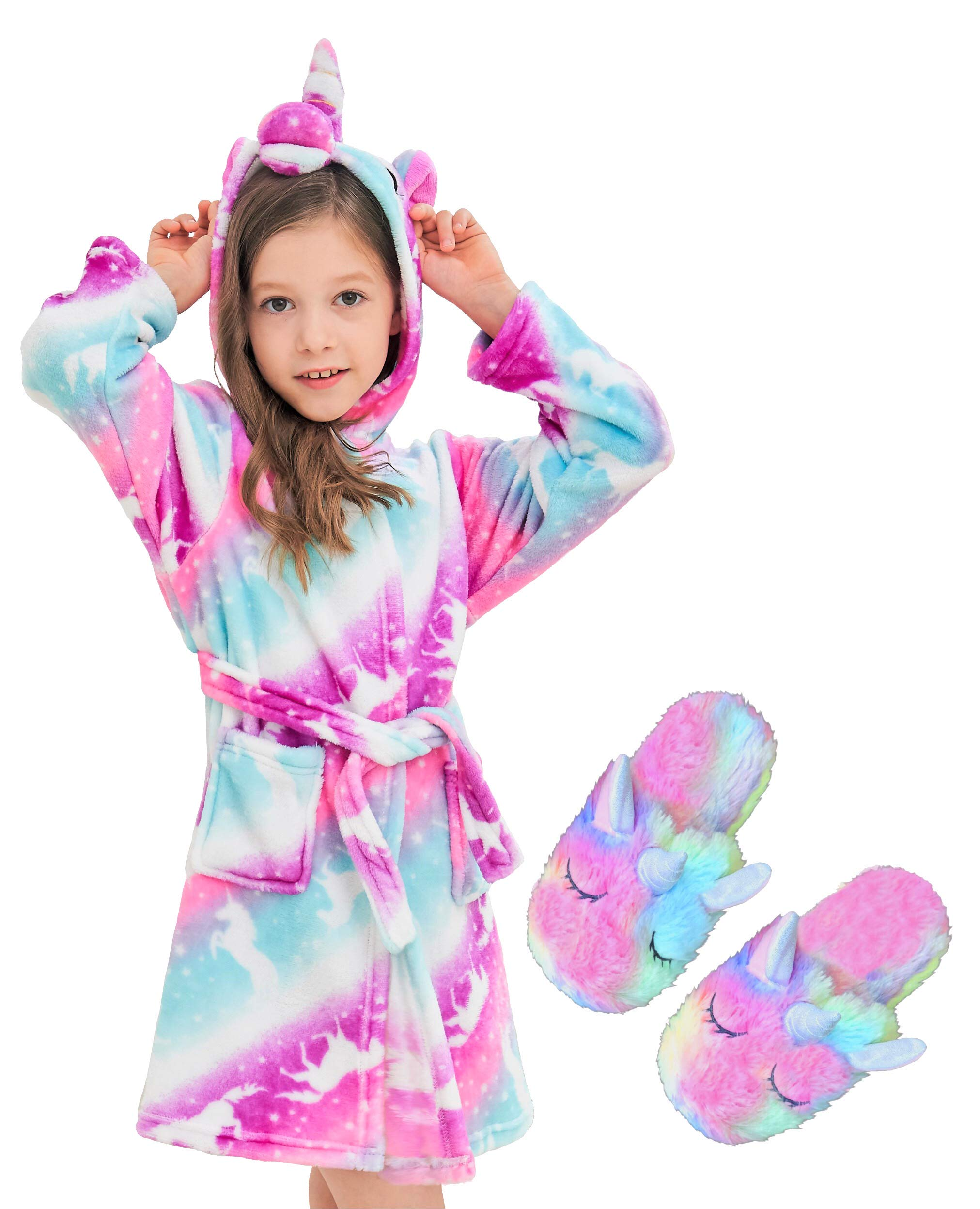 Unicorn Hooded Bathrobe Sleepwear Matching Slippers Girls Gifts