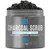M3 Naturals Activated Charcoal Scrub Infused with Collagen and Stem Cell - Natural...