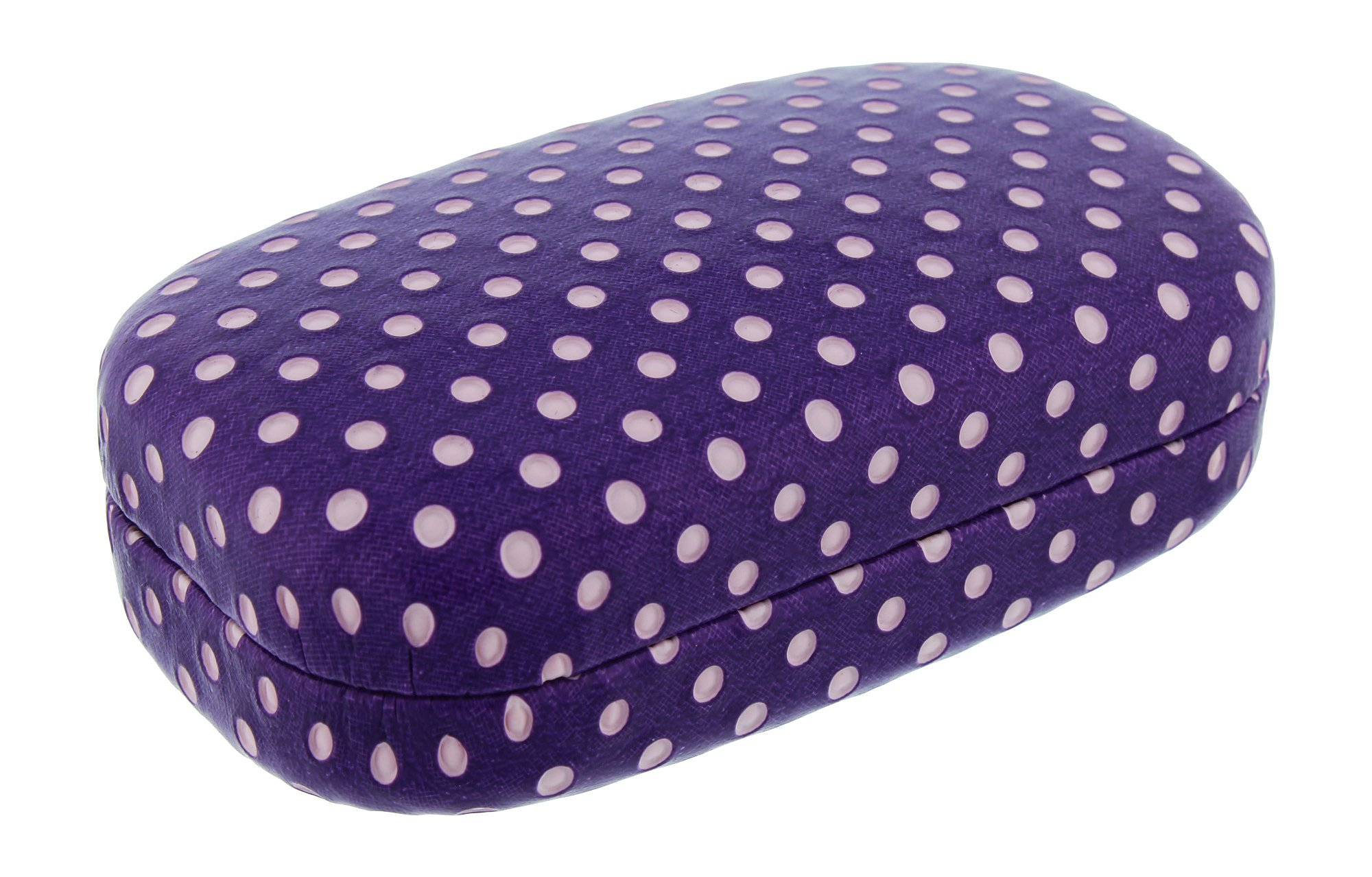 Hard Mod Purple And White Polka Dot With Interior Mirror Contact Lens Travel Case