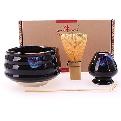 Goodwei Juego de té Matcha Premio - Cuenco Ceremonial, Batidor de Bambú y Soporte -
