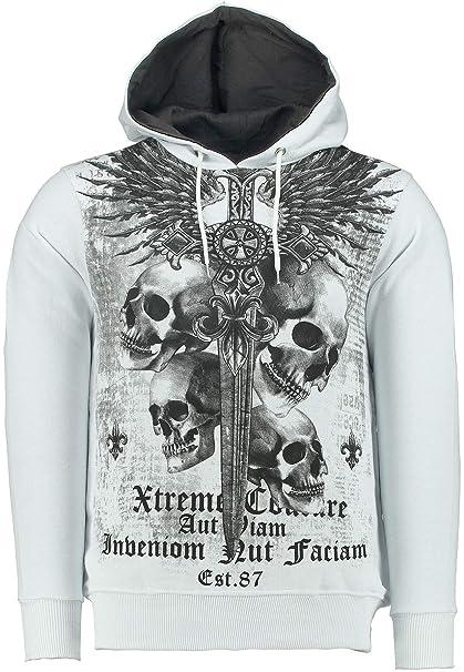Hoody Motiv Totenkopf Angry Skull Print Kapuzenpullover