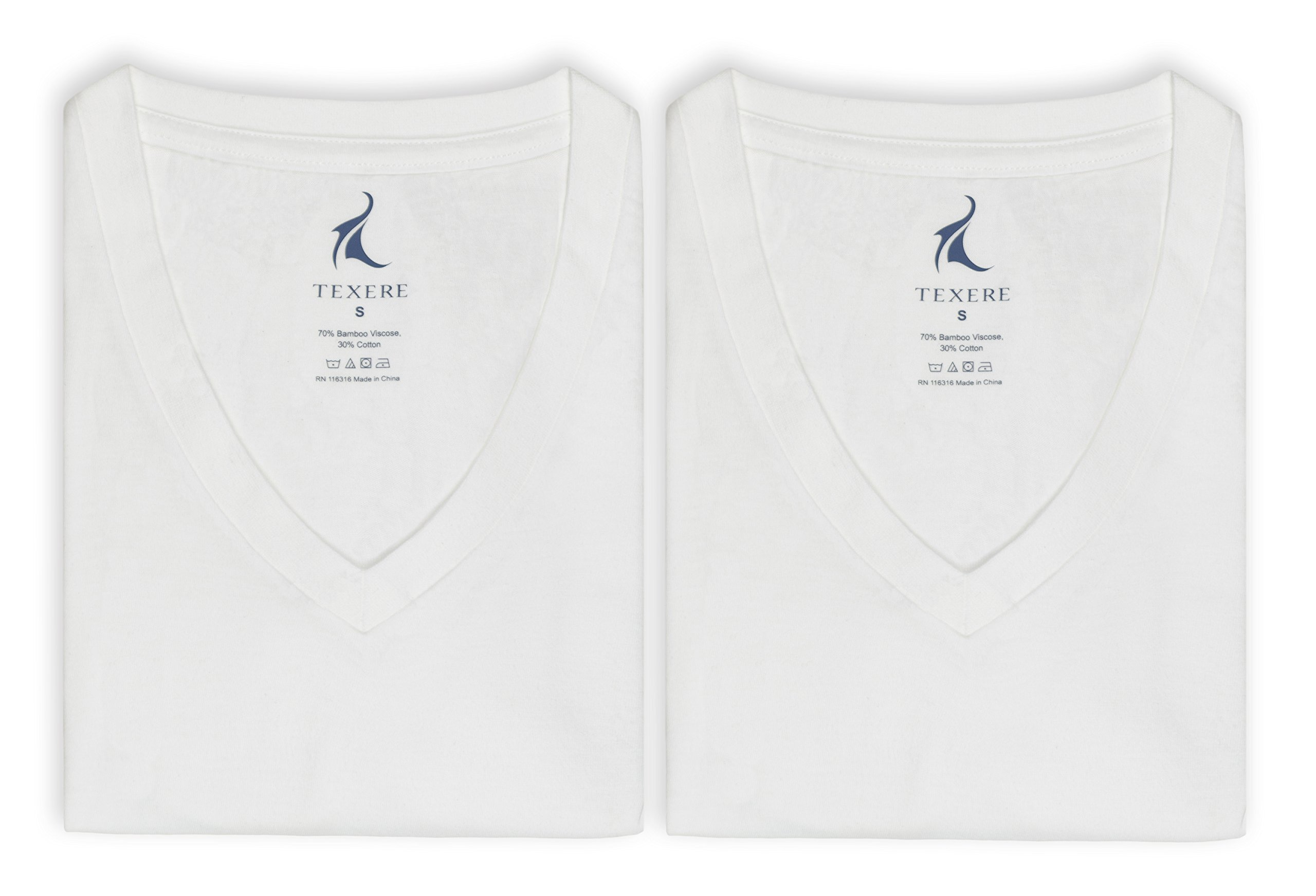Texere Men's V-Neck 2 Pack Undershirt (Meio, Natural White, MT) Best Gift by TexereSilk