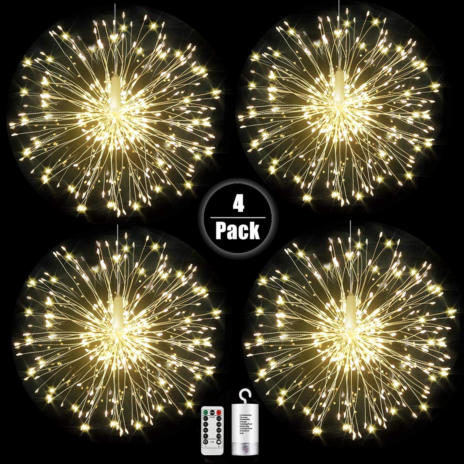 Digcreat Firework Lights Wire Lights,120 LED DIY 8 Modes Dimmable String Fairy Lights with Remote Control,Waterproof Decorative Hanging Starburst Lights for Christmas Home Patio, Warmwhite(4 Pack)