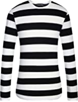 Allegra K Men Crew Neck Striped Long Sleeves Cotton/ Spandex ...