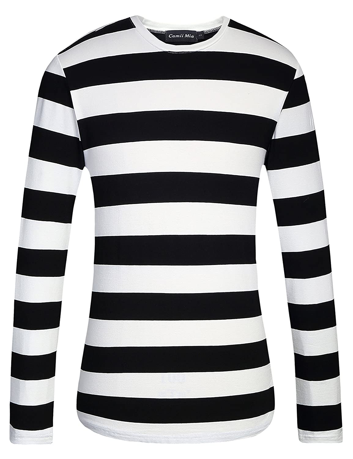Men's Long Sleeve Black Wide Striped Shirts