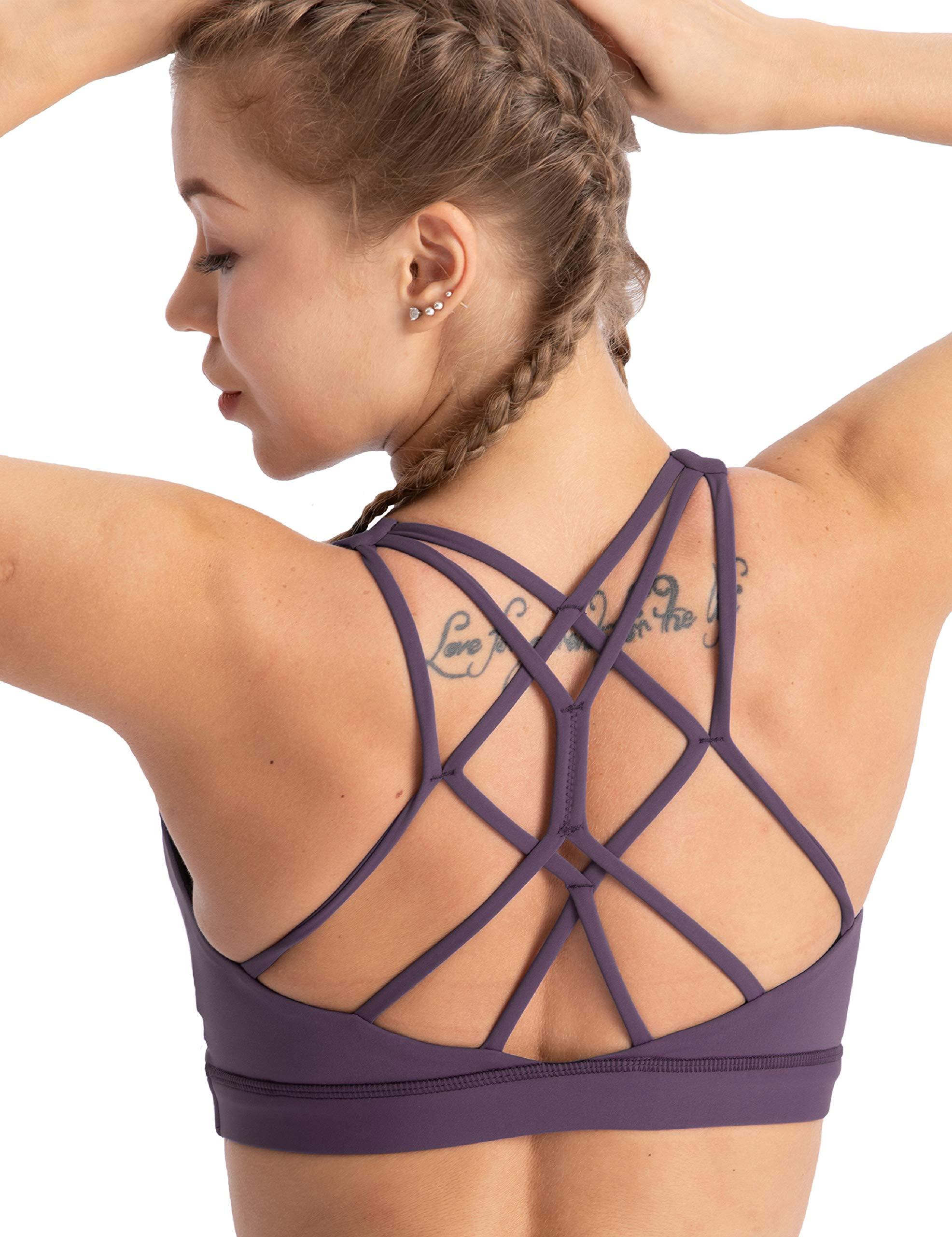 coastal rose Women's Yoga Bra Top Strappy Back Push Up Crop Sports Bra Activewear US XS BlackBerry Cordial by coastal rose