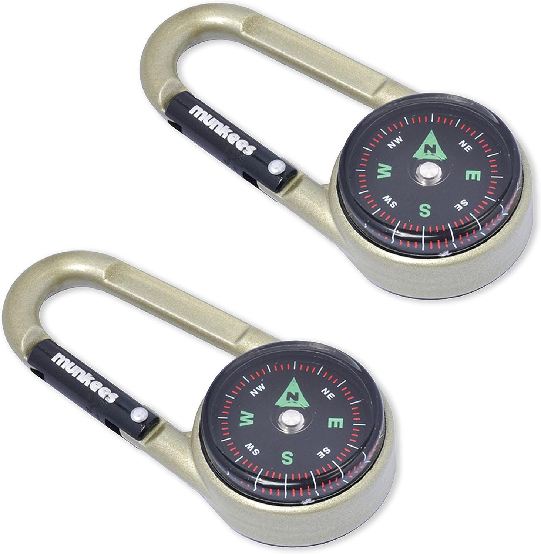 munkees Mosquetón de brújula con termómetro, llavero, función mosquetón, aluminio, 3135