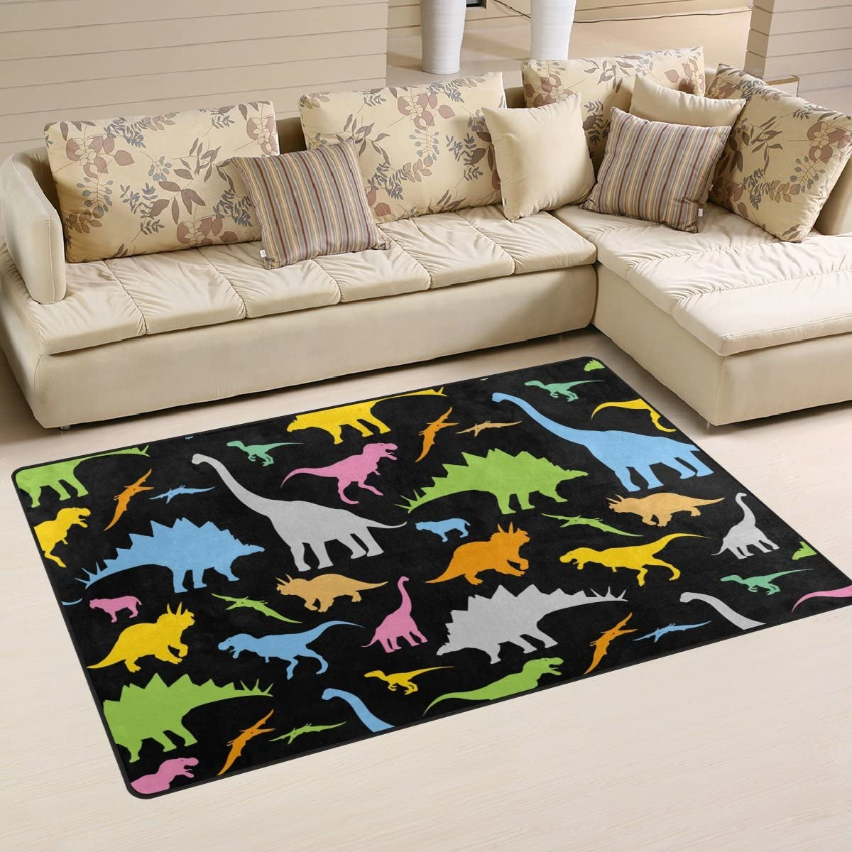 WOZO Colorful Dinosaur Black Area Rug Rugs Non-Slip Floor Mat Doormats Living Dining Room Bedroom Dorm 60 x 39 inches inches Home Decor