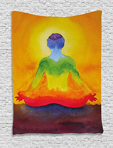 Ambesonne Chakra Tapestry, Grungy Meditating Human Body Paint Print with Gradient Effects Care Healing, Wall Hanging for Bedroom Living Room Dorm Decor, 40 X 60 , Orange Yellow