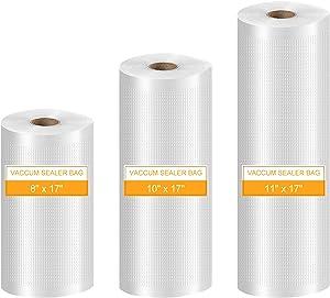 Sealerbag Vacuum Storage Bags for Food, Food Sealer Rolls Sous Vide Bags Roll Vacuum Freezer Bags for Food Saver Work with all Vacuum Sealer Machine, BPA Free for Sous Vide, 3 Rolls