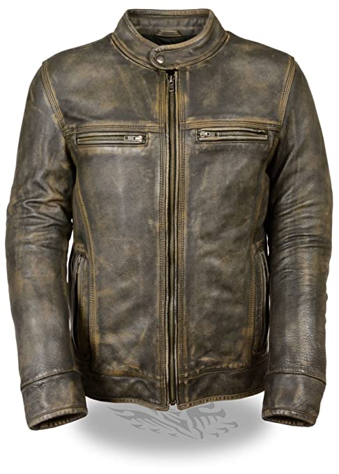 Milwaukee Leather Mens Brown Distressed Leather Scooter Jacket w/ Venting (Black, XL)