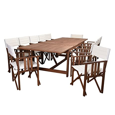 Amazonia 13 Piece California Rectangular Patio Double Leaf Extendable Dining  Set