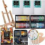 MEEDEN 71-Piece Acrylic Painting set - Solid Beech Wood Table Easel, 48×22ML Acrylic Paint Set, Canvas Panels, Acrylic…