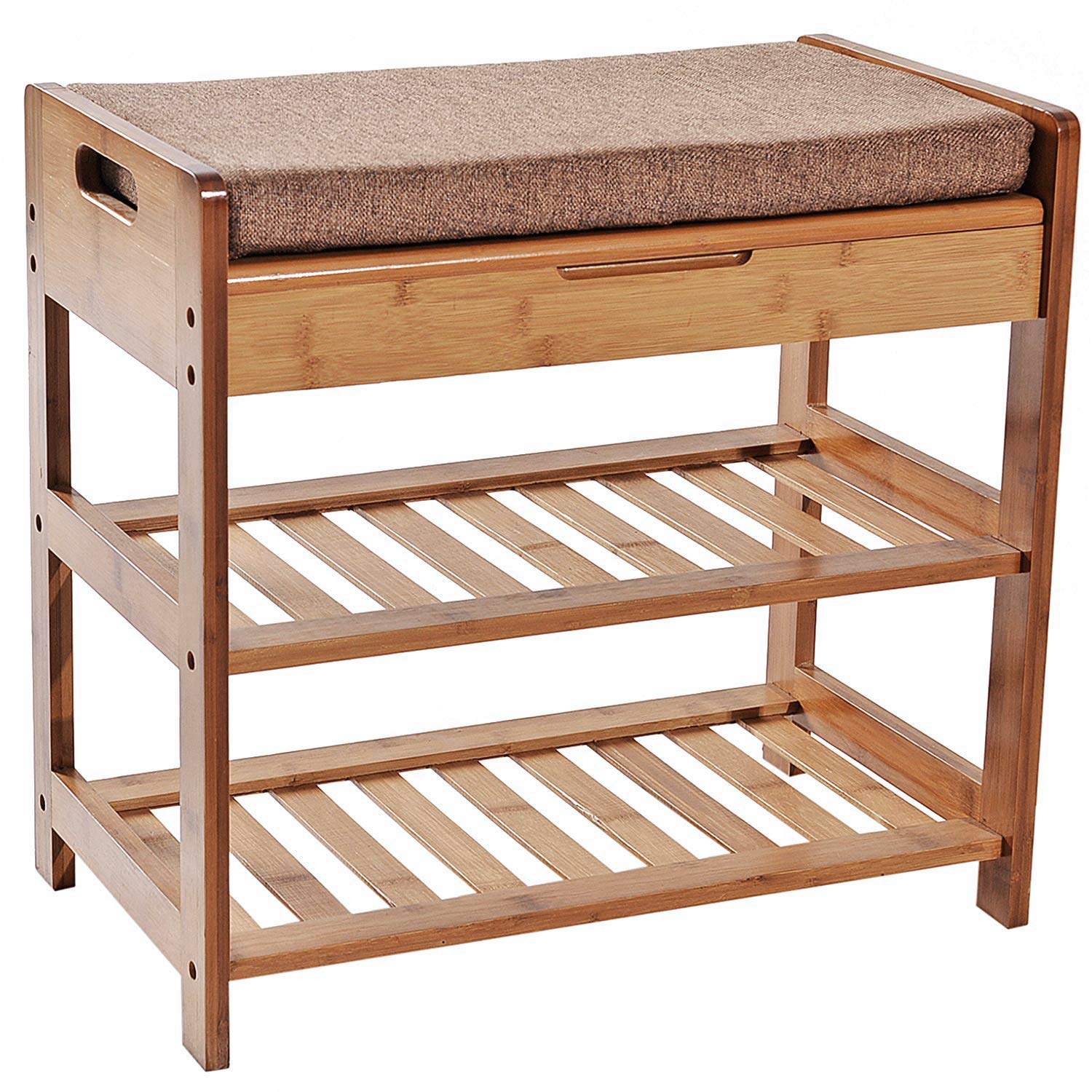 C&AHOME 3-Tier Bamboo Shoe Rack Bench, Shoe Organizer, Storage Shelf, Comfort Style, Perfect Modern Furniture with Soft Seat Cushion, Ideal for Entryway Hallway Bathroom Living Room and Corridor Brown by C&AHOME