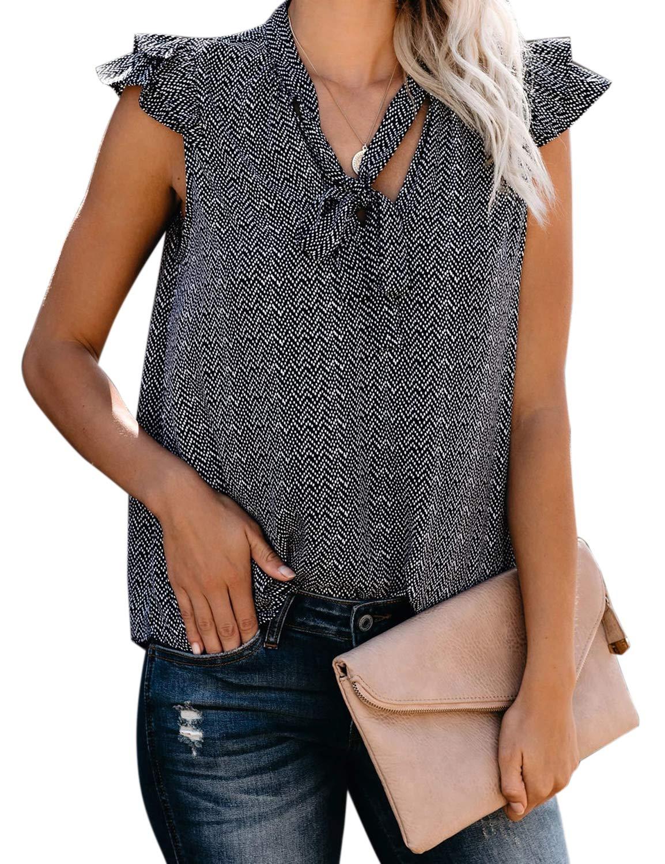 MAY Women's V Neck Sleeveless Top Ruffle Tie Knot Chiffon Blouse Shirt