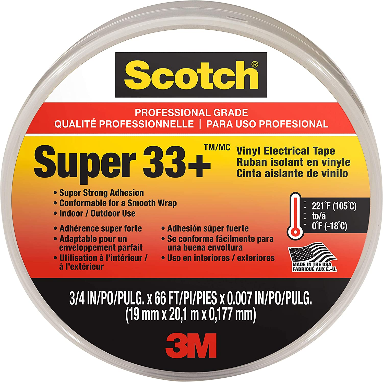 3M Scotch Super 33 W x 66 ft L Vinyl Electrical Tape 3//4 in