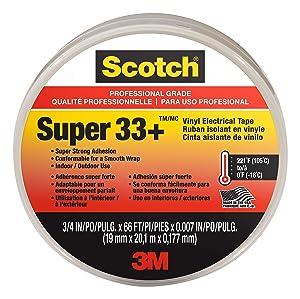 Scotch Super 33+ Vinyl Electrical Tape, .75-Inch x 66-Foot x 0.007-Inch, Pack of 10