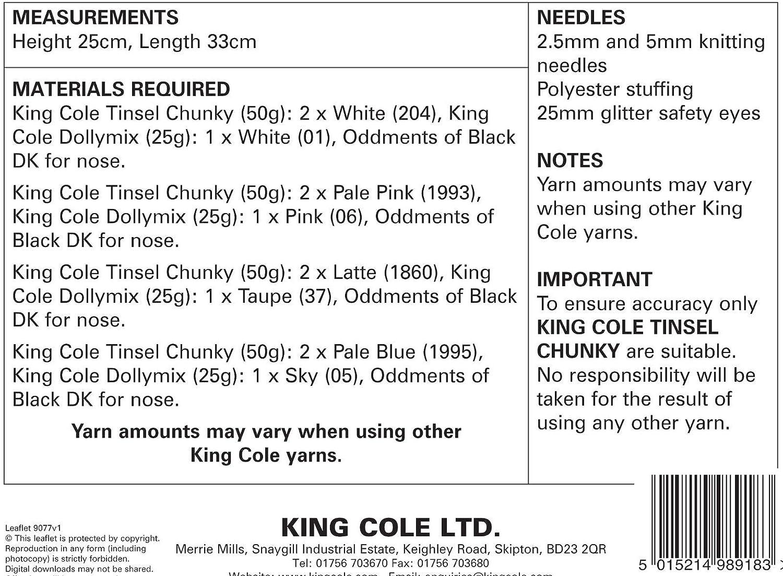 King Cole patrón para tejer 9077 Pomerania perro juguetes en Tinsel ...