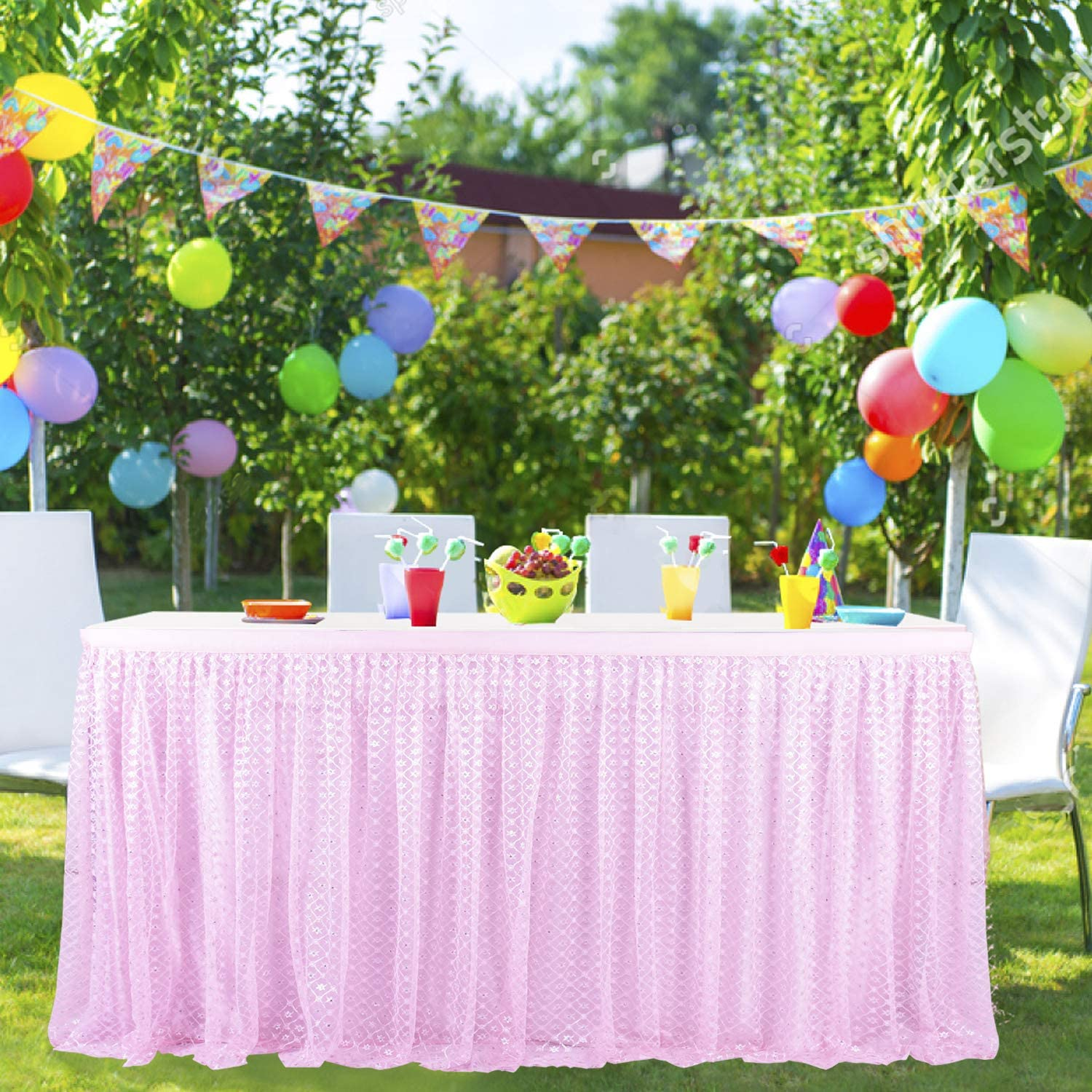 Leegleri 9ft Tulle Table Skirt for Rectangle or Round Table Pink Tutu Table Skirt with Silver Plum Embroidered for Baby Shower Party Wedding Birthday Decoration