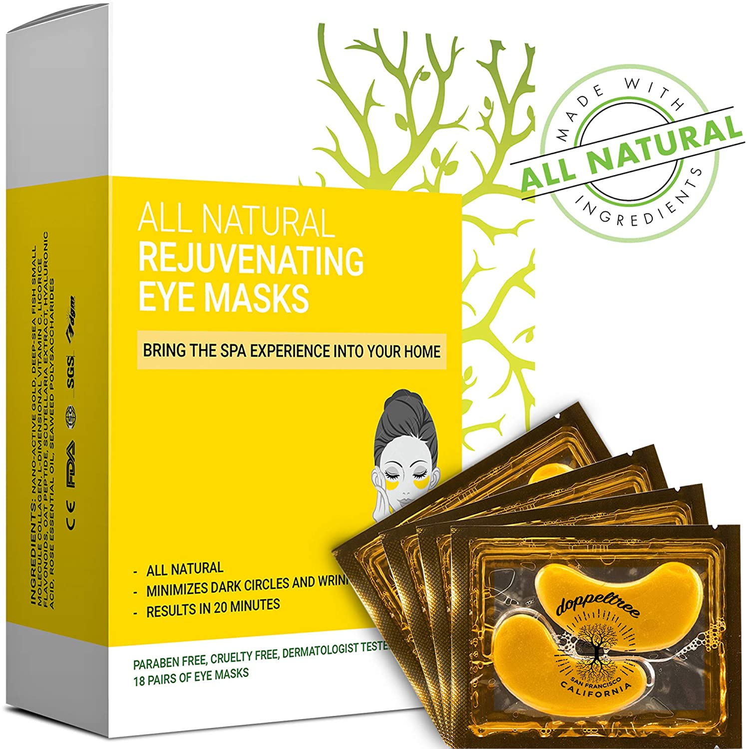 (18 pairs) All Natural Under Eye Bags Treatment Patches & Mask for Puffiness, Wrinkles and Dark Circles   24K Gold with Anti Aging Collagen, Hyaluronic Acid, Hydrogel   Designed in San Francisco Doppeltree