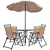 Outsunny Garden Patio Textilene Folding Chairs Plus Table and Parasol Furniture Bistro Set - Beige (6-Piece)