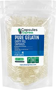Capsules Express- Size 4 Clear Empty Gelatin Capsules for Cats - Kosher - Pure Gelatin Pill Capsule - DIY Powder Filling (500)