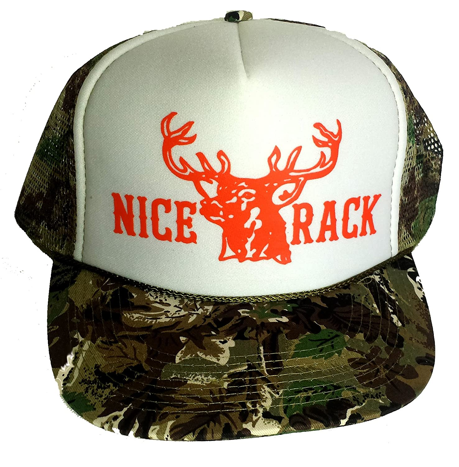 White Camouflage Nice Rack Blaze Orange Mesh Trucker Hat Cap Snapback