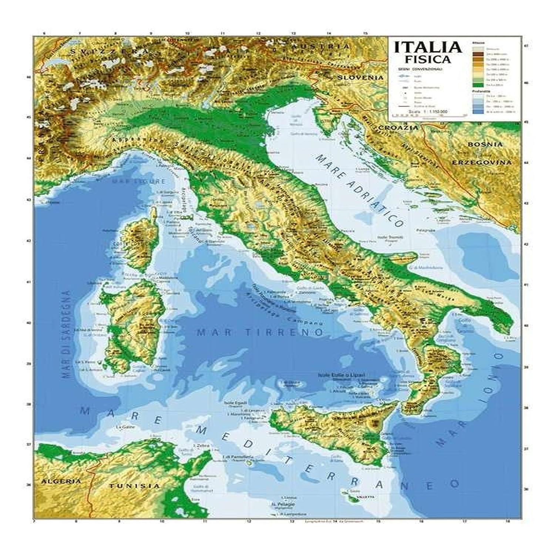 CARTINA GEOGRIFICA ITALIA BIFACCIALE FISICA POLITICA 100X140CM PLASTIFICATA Aurora Store.it