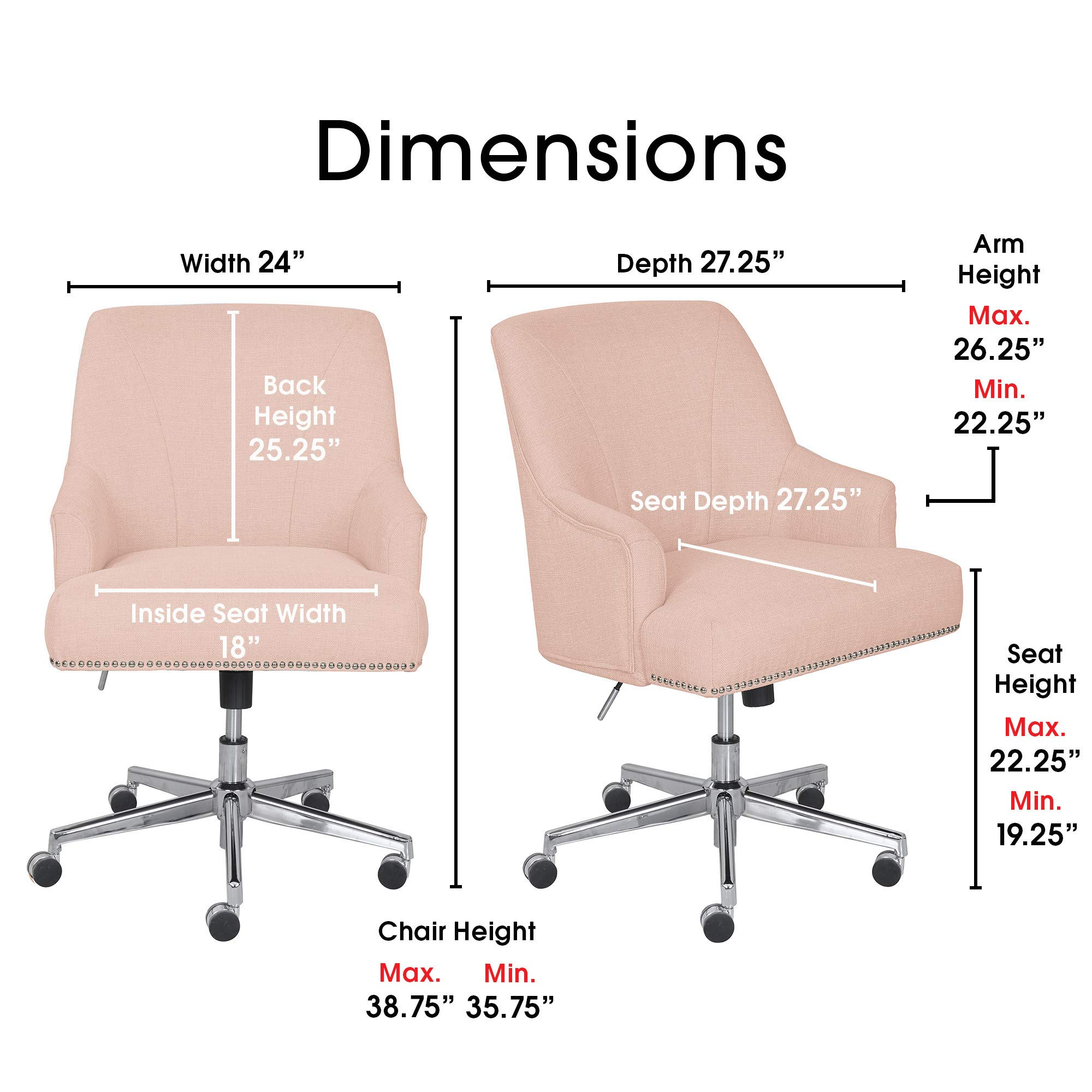 Serta Leighton Home Office Chair With Memory Foam Height Adjustable Desk Accent Chair With Chrome Finished Stainless Steel Base Twill Fabric Blush Pink Buy Online In Colombia Serta Products In Colombia See