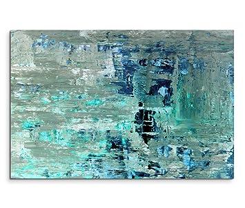 Abstrakte Bilder Auf Leinwand amazon de 120x80cm leinwandbild auf keilrahmen kunstmalerei blau