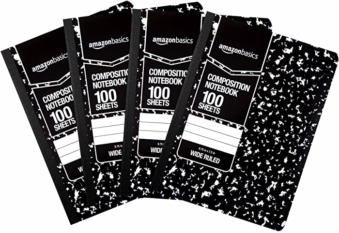 AmazonBasics Wide Ruled Composition Notebook, 100-Sheet, Marble Black, 4-Pack - 583499