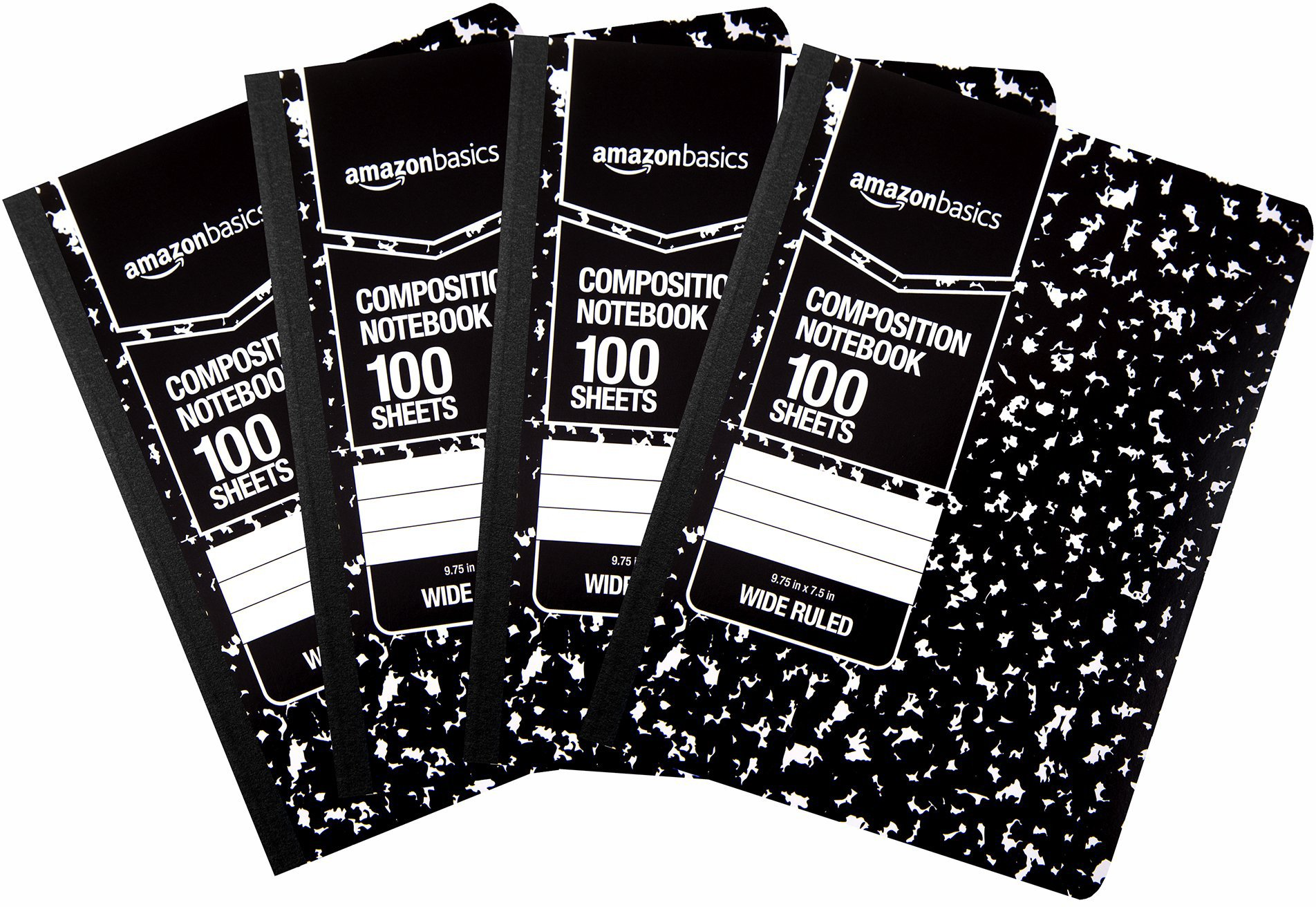 Amazon Basics Wide Ruled Composition Notebook, 100 Sheets, Marble Black, 4-Pack