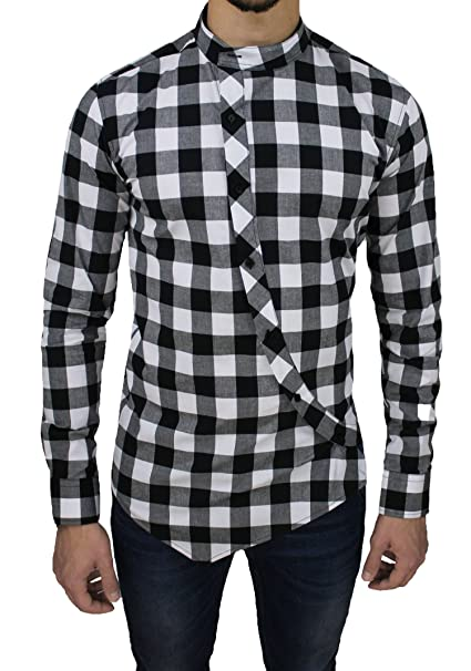 detailed look 50a8c 54836 Camicia Uomo Cotone Slim Fit Nero Bianco Quadri Casual con ...