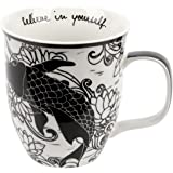 Karma Gifts Boho Black and White Mug, Koi