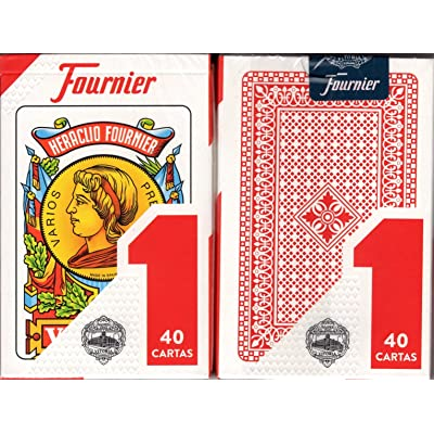 Fournier 1-40 Spanish Playing Cards (Red): Toys & Games