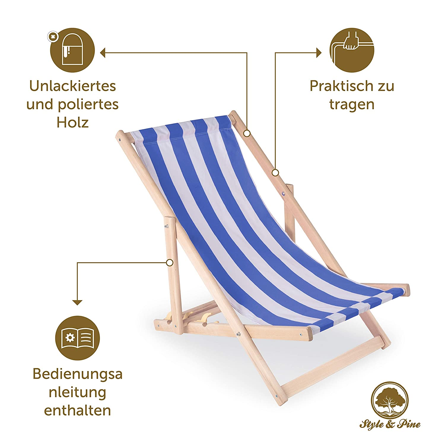Sunlounger Deck Chairs Folding wood Traditional Garden Beach Deckchairs Outdoor Leisure