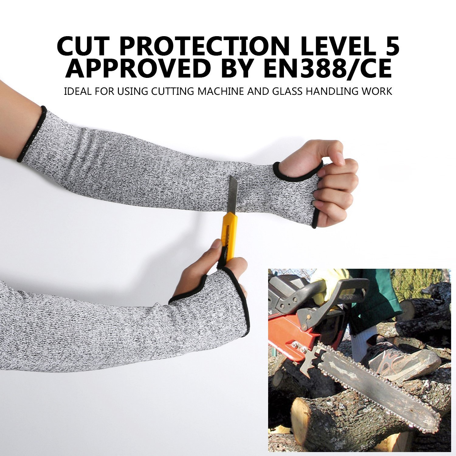 Cut Resistant Sleeves with Thumb Hole, Level 5 Protection, Slash Resistant Safety Protective Arm Sleeves, 14 inch long, Large (Arm width 4-8 inch) sold by Pair(2 Pieces) by G & F Products (Image #6)