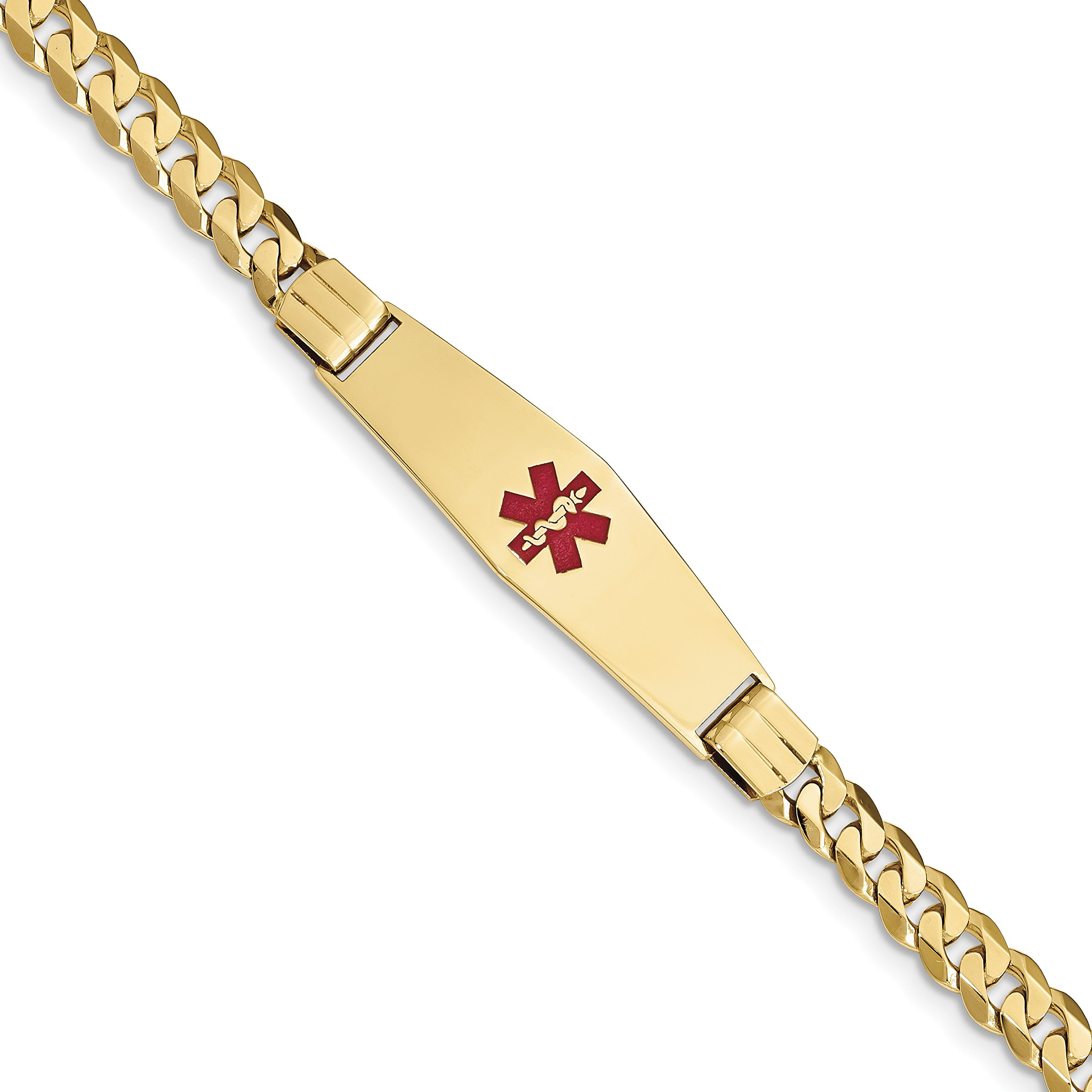 ICE CARATS 14k Yellow Gold Medical Soft Red Enamel Curb Link Id Bracelet 8 Inch Fine Jewelry Gift Set For Women Heart