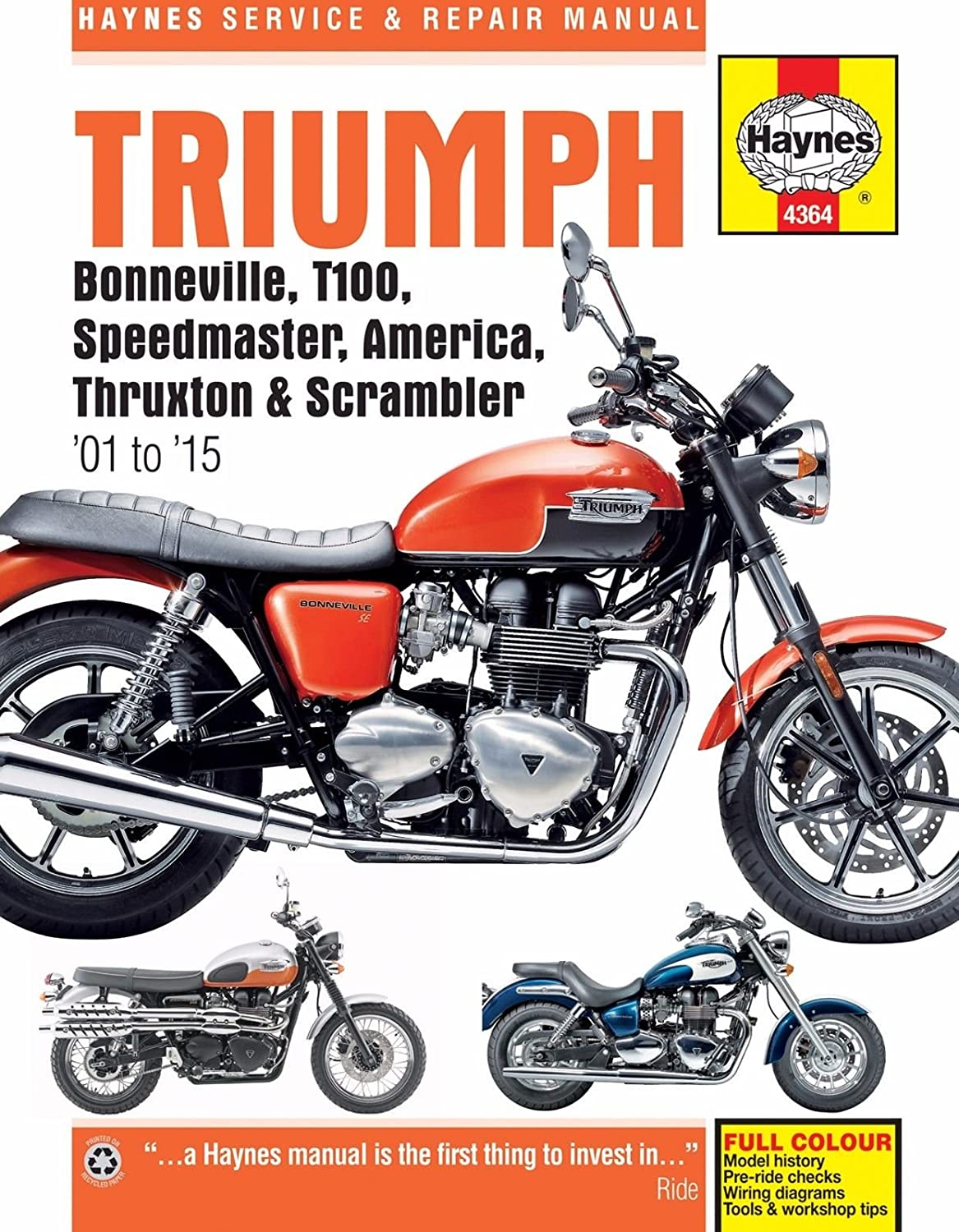 Amazon.com: 2001-2015 Triumph Bonneville T100 America Speedmaster Thruxton  Scrambler REPAIR MANUAL: Automotive