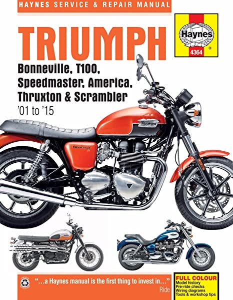 amazon com: i5motorcycle 2001-2015 triumph bonneville t100 america  speedmaster thruxton scrambler haynes repair manual 4364: automotive