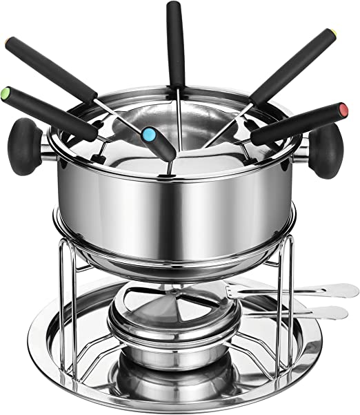 Amazon Com Dowan Sh081 Stainless Steel Fondue Pot Set