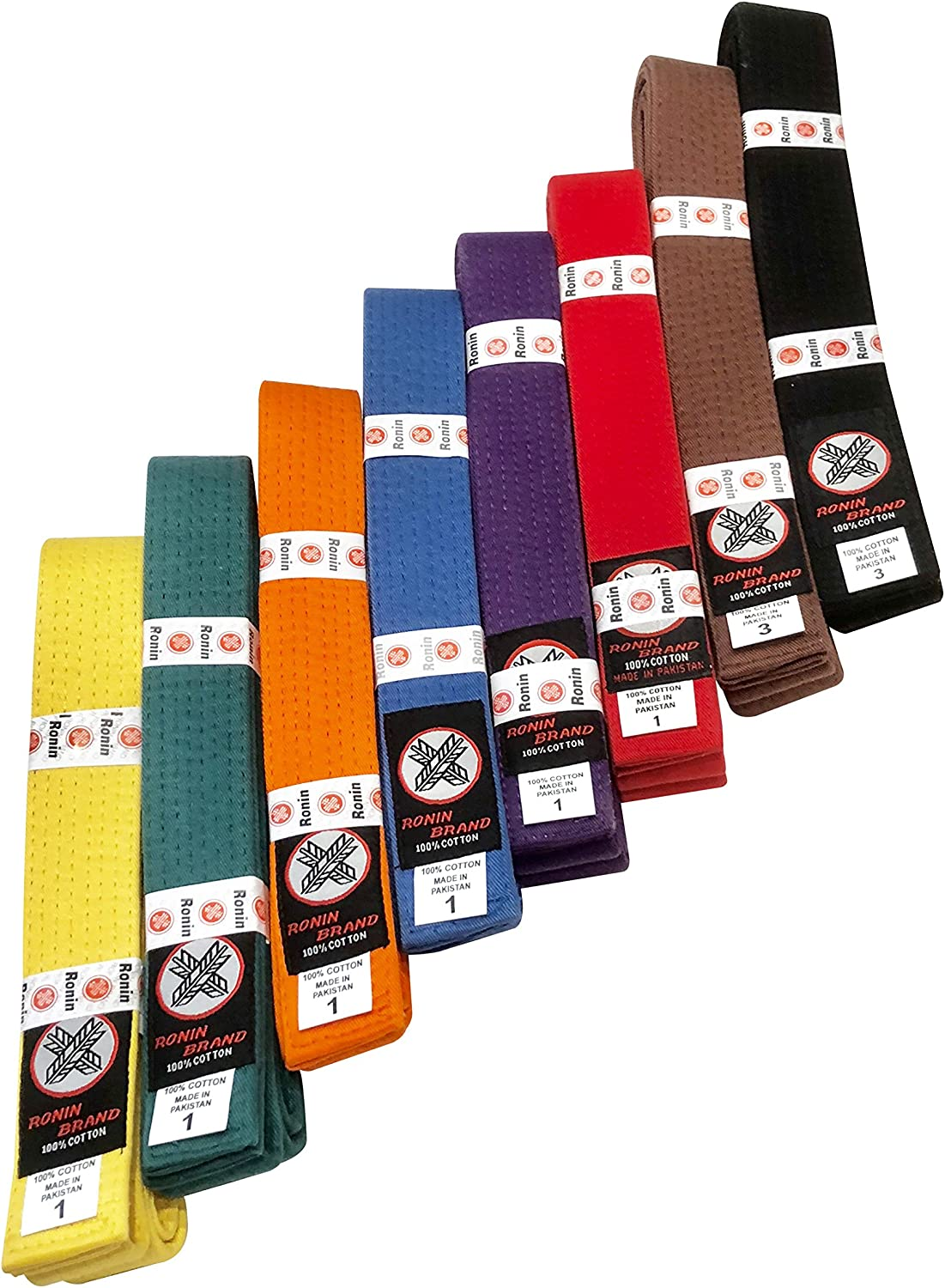 Blue Orange Green Red Yellow Brown Ronin Brand Martial Arts Uniform Solid Colored Rank Belt Purple Black in Quality