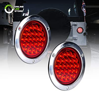 """2pc 4"""" Inch Round LED Trailer Tail Lights [DOT Certified] [Stainless Steel Chrome Bezel] [Connector Plug Included] Stop Brake Lights for Trucks RV Jeep: Automotive"""
