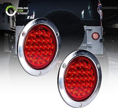Qty 2-4 Round LED Trailer Tail Light Red 24 LED Stop Turn Signal Brake Marker Running Lights w//Chrome Bezels for Trucks Trailer RV Boat Waterproof