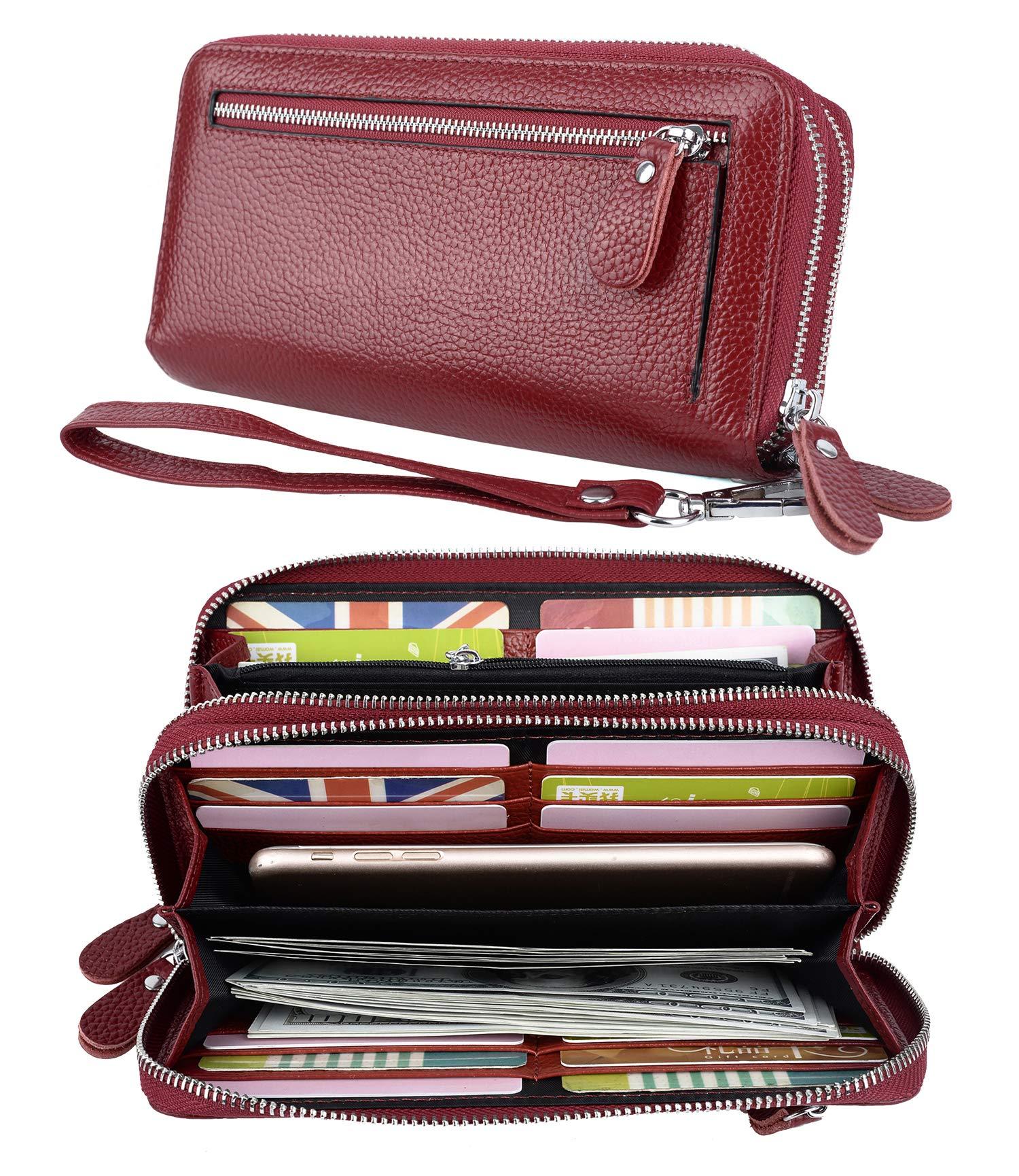YALUXE Women's RFID Blocking Security Double Zipper Large Smartphone Wristlet Leather Wallet Red